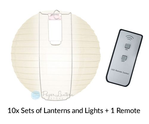 "MoonBright 12"" Warm White Paper Lantern Remote Controlled LED Lights (10-PACK Combo Kit)"