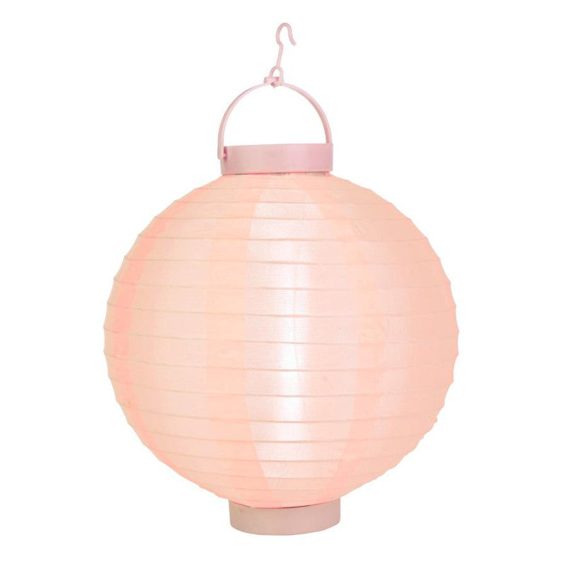 "BLOWOUT 12"" Rose Quartz Pink 16 LED Round Battery Operated Shimmering Nylon Lantern"