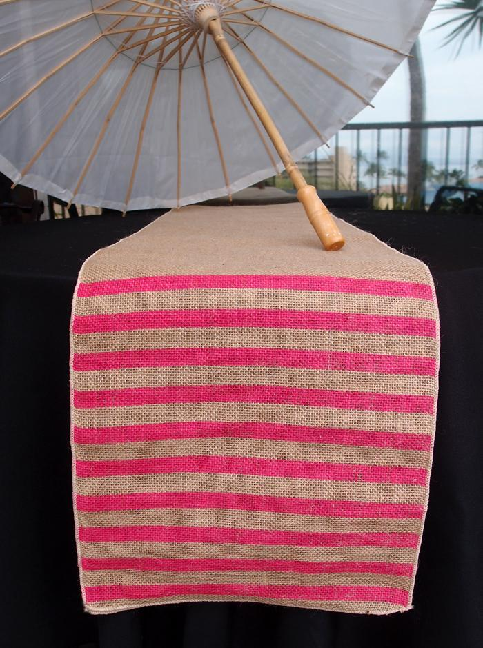 BLOWOUT Vintage Burlap Table Runner w/ Fuchsia / Hot Pink Striped Pattern (12 x 108) - PaperLanternStore.com - Paper Lanterns, Decor, Party Lights & More