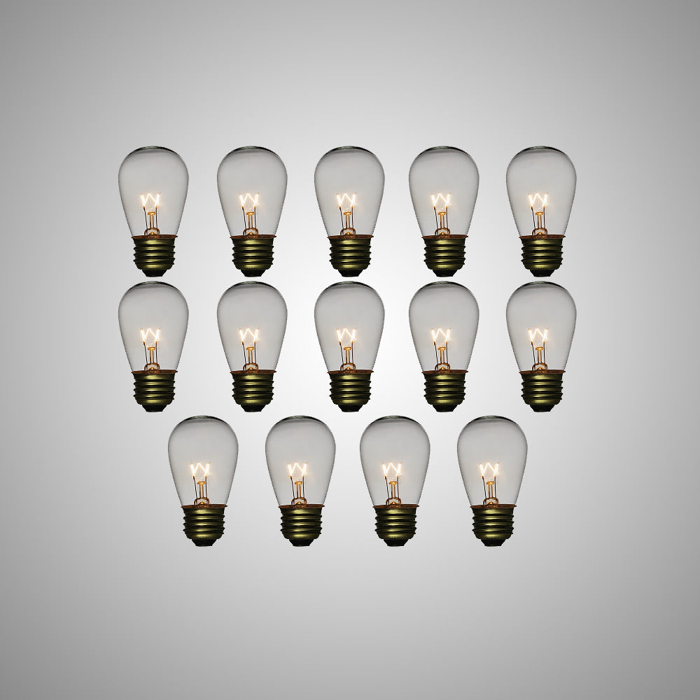 Clear 11-Watt Incandescent S14 Sign Replacement Light Bulbs, E26 Medium Base (14 PACK)