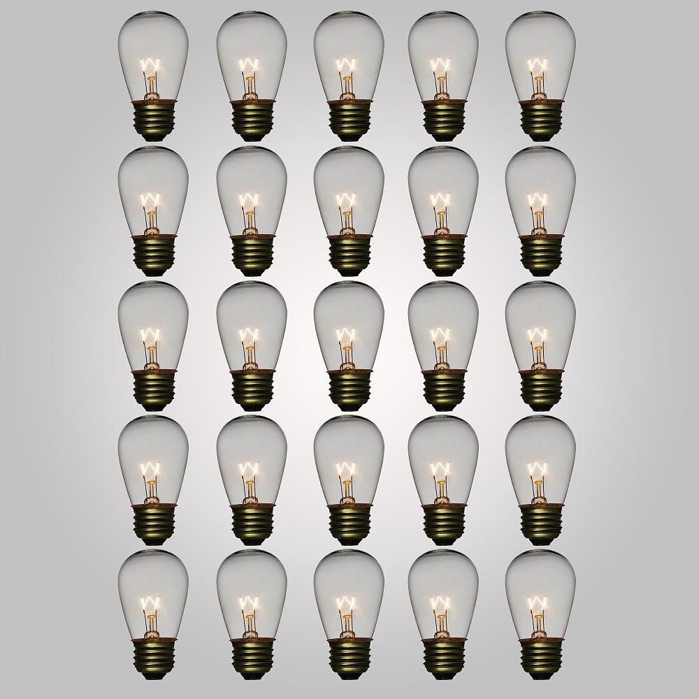 Clear 11-Watt Incandescent S14 Sign Replacement Light Bulbs, E26 Medium Base (28 PACK)