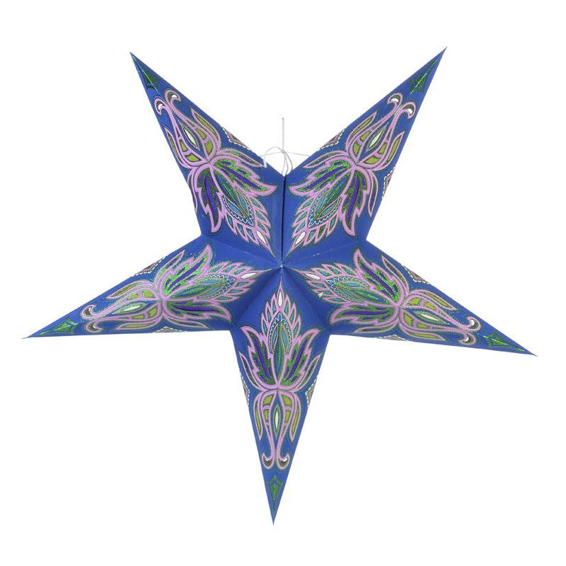 "24"" Blue / Pink Lotus Green Glitter Paper Star Lantern, Chinese Hanging Wedding & Party Decoration"