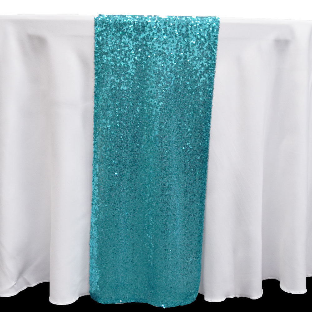 BLOWOUT Turquoise Sequin Table Runner - 12 x 108 Inch