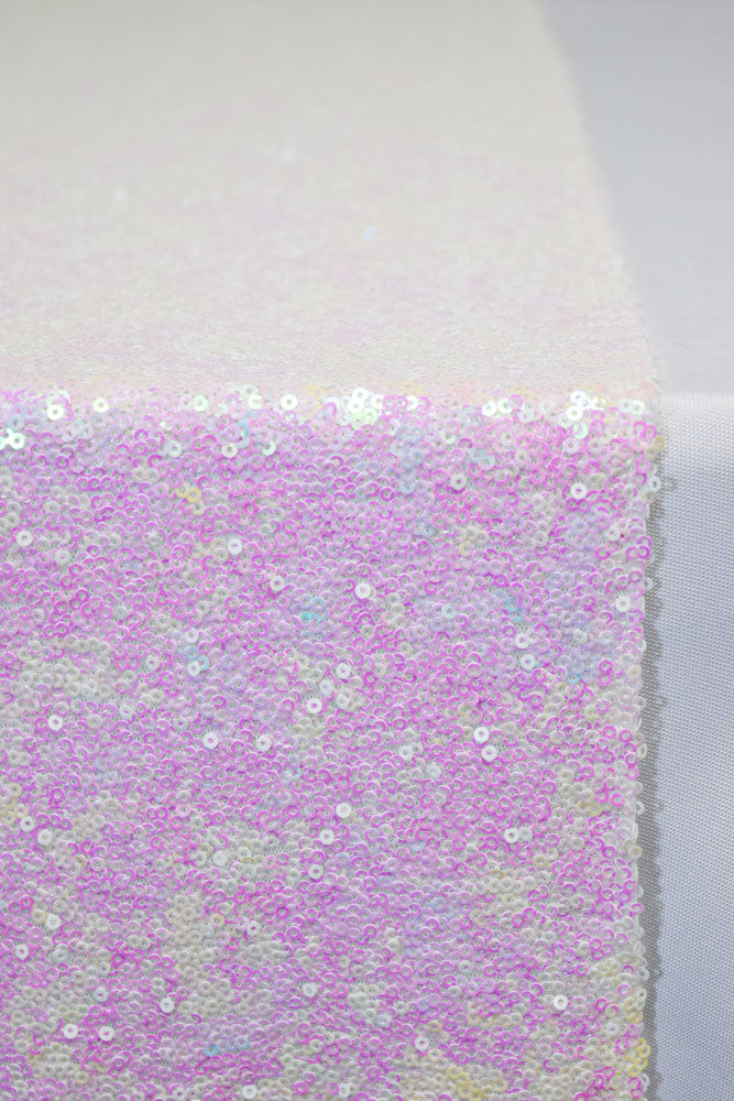 BLOWOUT White and Pink Iridescent Sequin Table Runner - 12 x 108 Inch