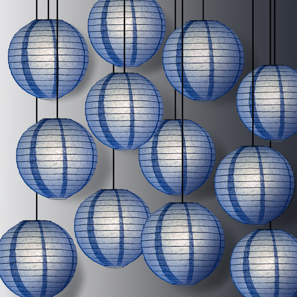 "12 PACK | 12"" Serenity Blue Even Ribbing Round Paper Lantern, Hanging Combo Set - PaperLanternStore.com - Paper Lanterns, Decor, Party Lights & More"