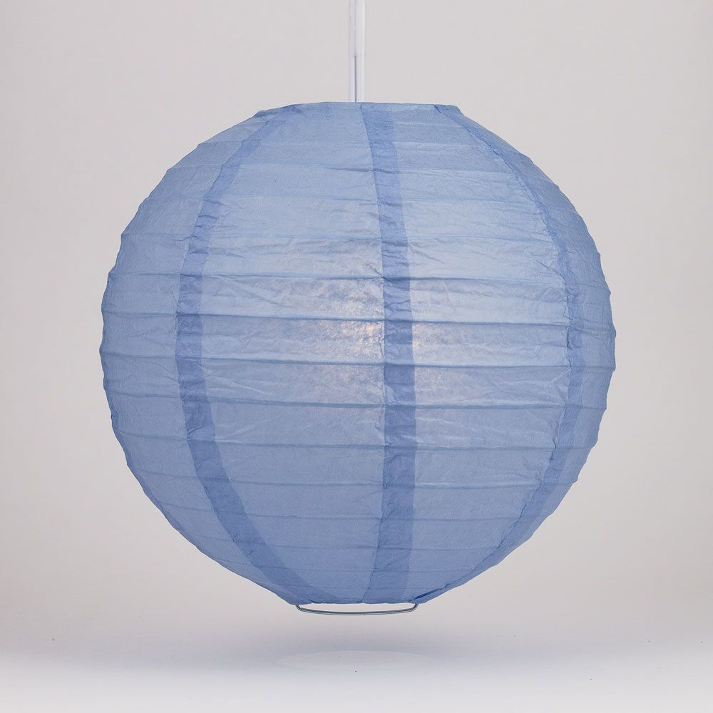 "16"" Serenity Blue Round Paper Lantern, Even Ribbing, Chinese Hanging Decoration for Weddings and Parties"