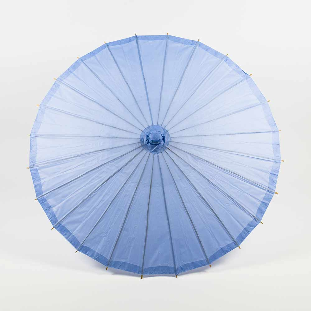 "32"" Serenity Blue Paper Parasol Umbrella for Weddings and Parties"