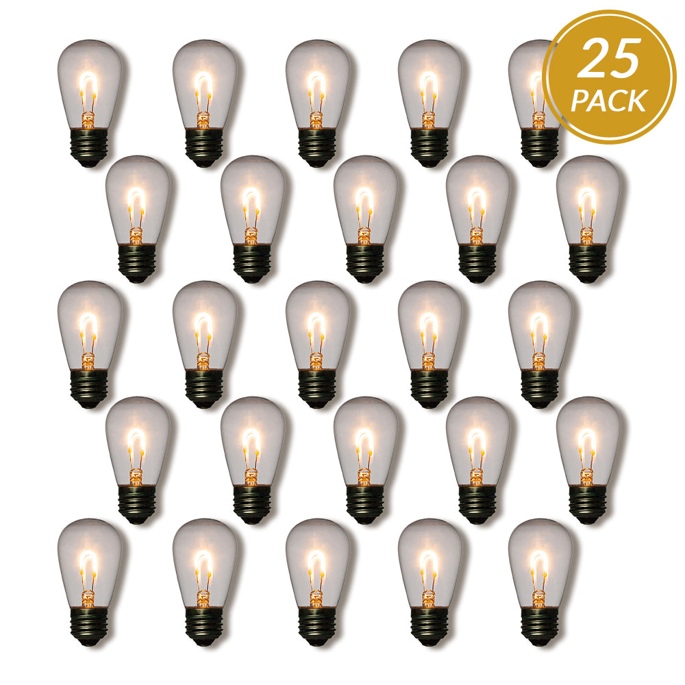 25-Pack LED Filament S14 Shatterproof Energy Saving Light Bulb, Dimmable, 1W,  E26 Medium Base - PaperLanternStore.com - Paper Lanterns, Decor, Party Lights & More