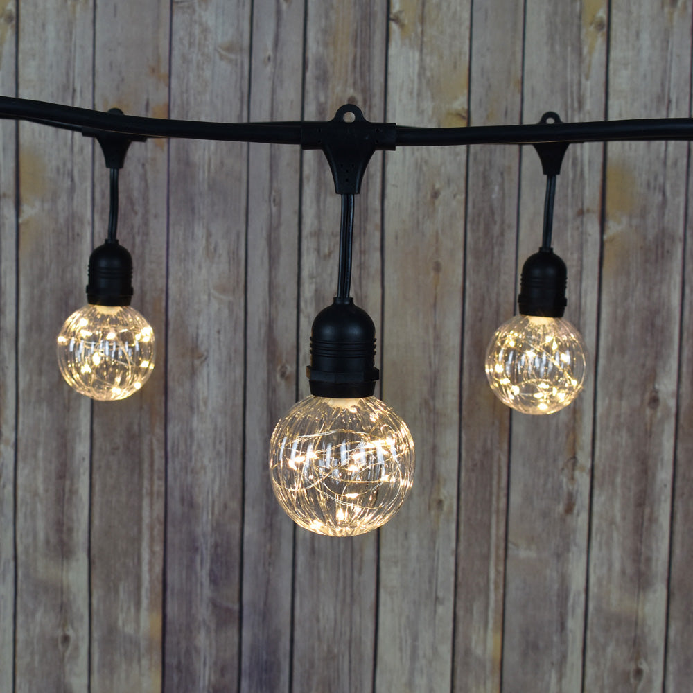 48-Foot Shatterproof PG80 LED String Light Outdoor Commercial Weatherproof SJTW Suspended Cord Black, 15 Bulb, 45 Total Watts, Grounded