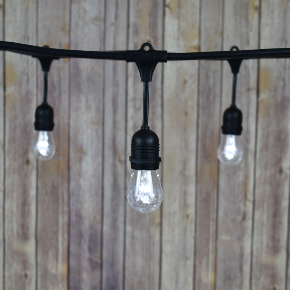 48-Foot Shatterproof S14 Cool White LED String Light Outdoor Commercial Weatherproof SJTW Suspended Cord Black, 15 Bulb, 10.5 Total Watts
