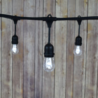 48-Foot Shatterproof S14 Cool White LED String Light Outdoor Commercial Weatherproof SJTW Suspended Cord Black, 15 Bulb, 10.5 Total Watts, Grounded