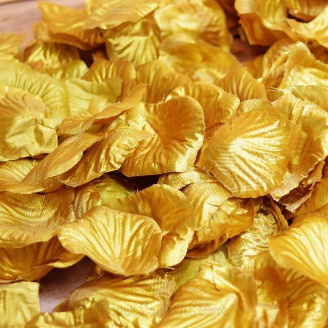 BLOWOUT Gold Silk Rose Petals Confetti for Weddings in Bulk - PaperLanternStore.com - Paper Lanterns, Decor, Party Lights & More