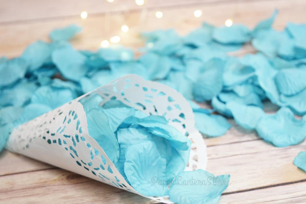 BLOWOUT Turquoise Silk Rose Petals Confetti for Weddings in Bulk - PaperLanternStore.com - Paper Lanterns, Decor, Party Lights & More