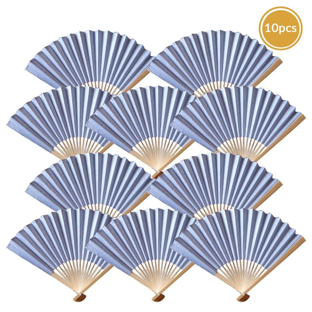 "9"" Silver Paper Hand Fans for Weddings, Premium Paper Stock (10 Pack) - PaperLanternStore.com - Paper Lanterns, Decor, Party Lights & More"