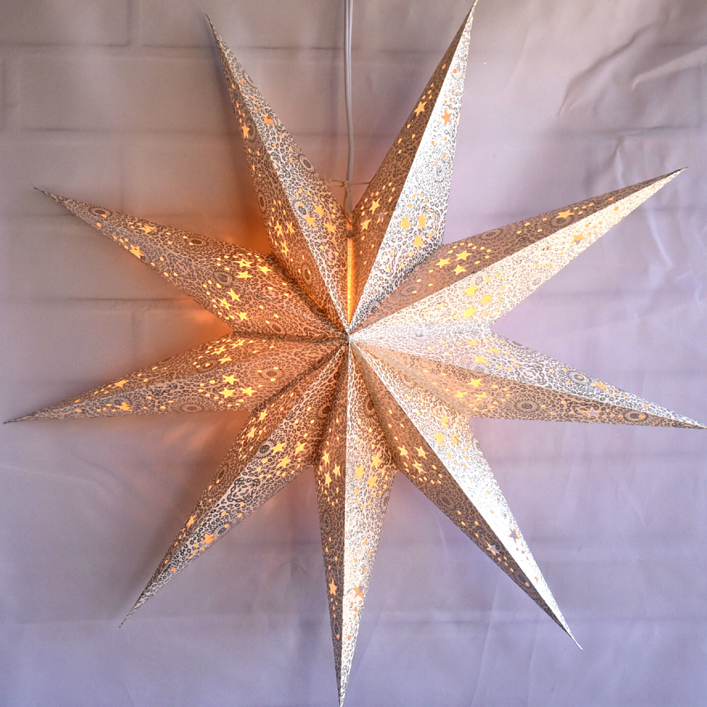 "3-PACK + Cord | 9 Point Silver Diamonds Glitter 24"" Illuminated Paper Star Lanterns and Lamp Cord Hanging Decorations"