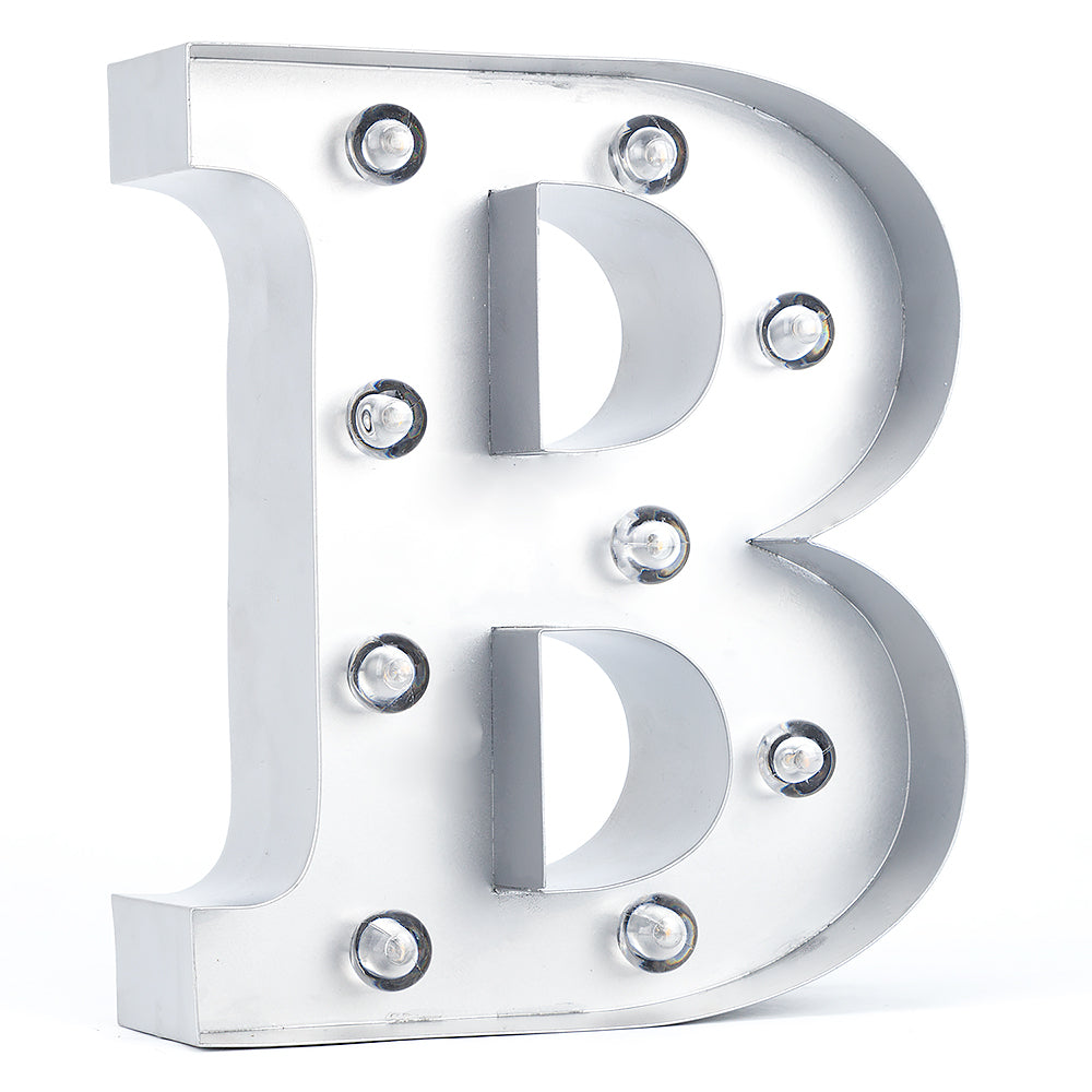 BLOWOUT Silver Marquee Light Letter 'B' LED Metal Sign (8 Inch, Battery Operated w/ Timer)