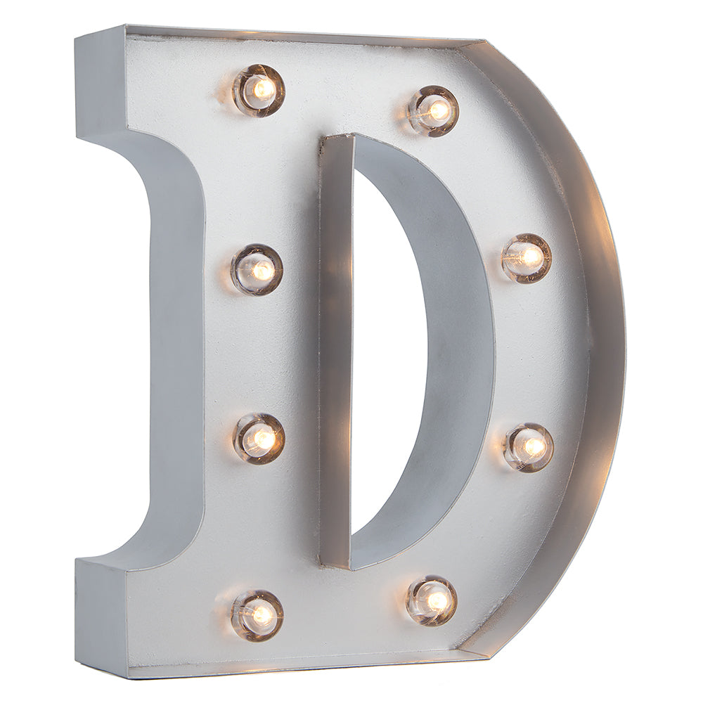 BLOWOUT Silver Marquee Light Letter 'D' LED Metal Sign (8 Inch, Battery Operated w/ Timer)