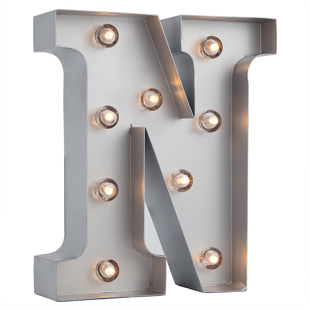 BLOWOUT Silver Marquee Light Letter 'N' LED Metal Sign (8 Inch, Battery Operated w/ Timer)