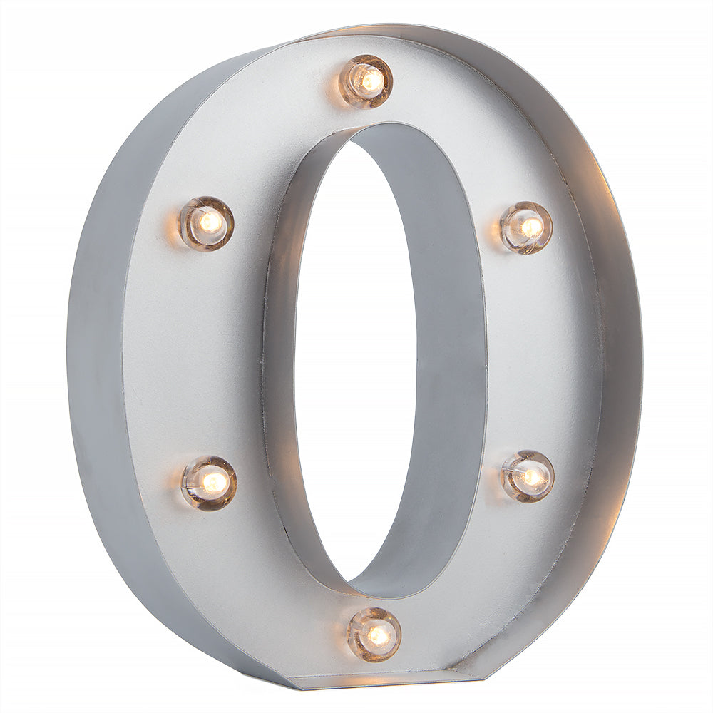 BLOWOUT Silver Marquee Light Letter 'O' LED Metal Sign (8 Inch, Battery Operated w/ Timer)