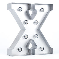 BLOWOUT Silver Marquee Light Letter 'X' LED Metal Sign (8 Inch, Battery Operated w/ Timer)