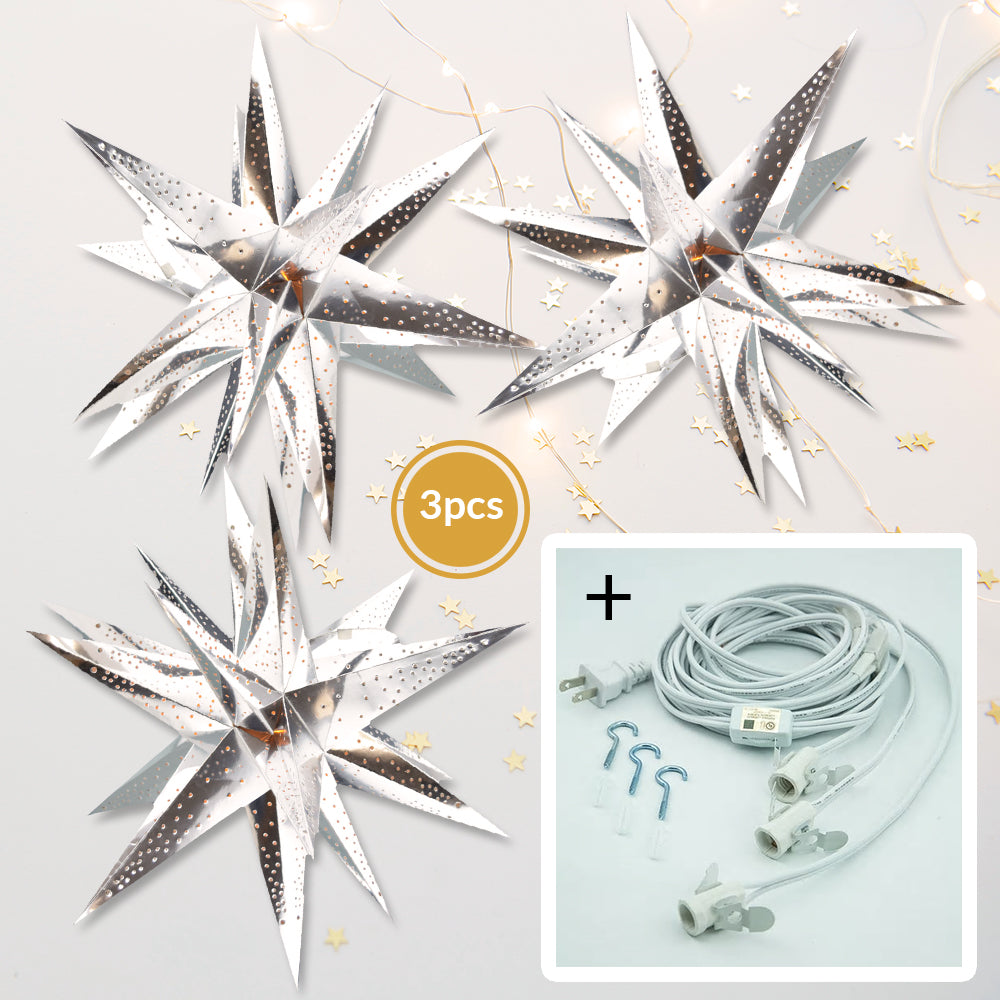 "3-PACK + Cord | Silver Moravian Multi-Point 24"" Illuminated Paper Star Lanterns and Lamp Cord Hanging Decorations"