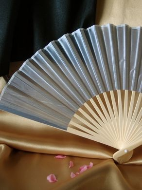 "BULK PACK (50) 9"" Silver Silk Hand Fans for Weddings"