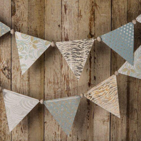 Silver Paper Large Triangle Pennant Banner (9.5 Feet Long)