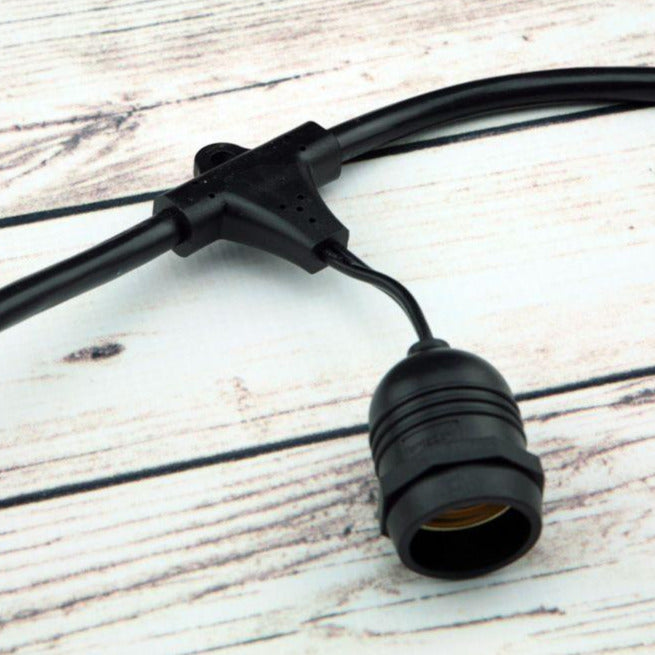 (Cord Only) 24 Suspended Socket SJTW Outdoor Commercial DIY String Light 54 FT Black Cord w/ E26 Medium Base, Weatherproof