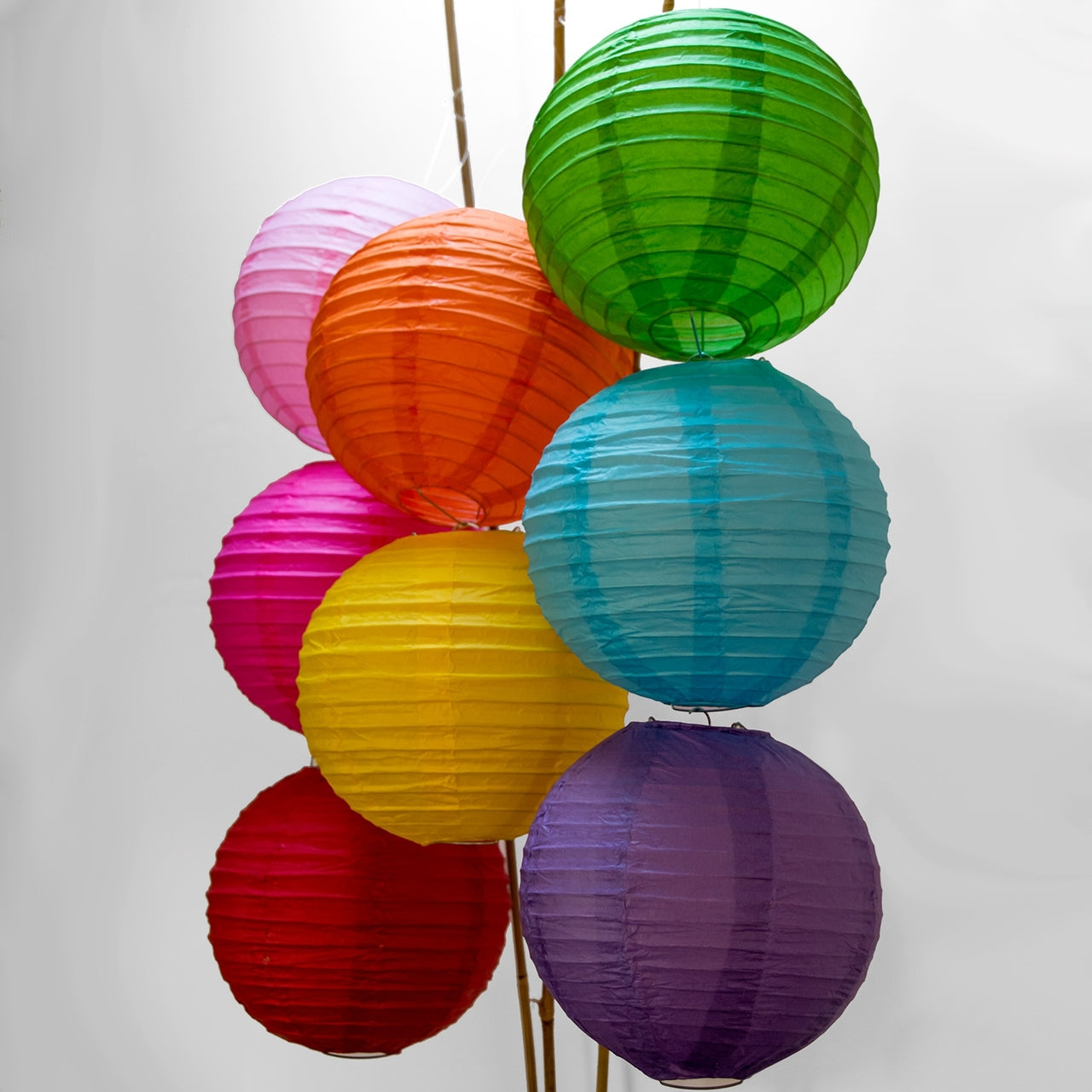 BLOWOUT 8-Pack of 10 Inch Multicolor No Frills Paper Lanterns - Even Ribbing