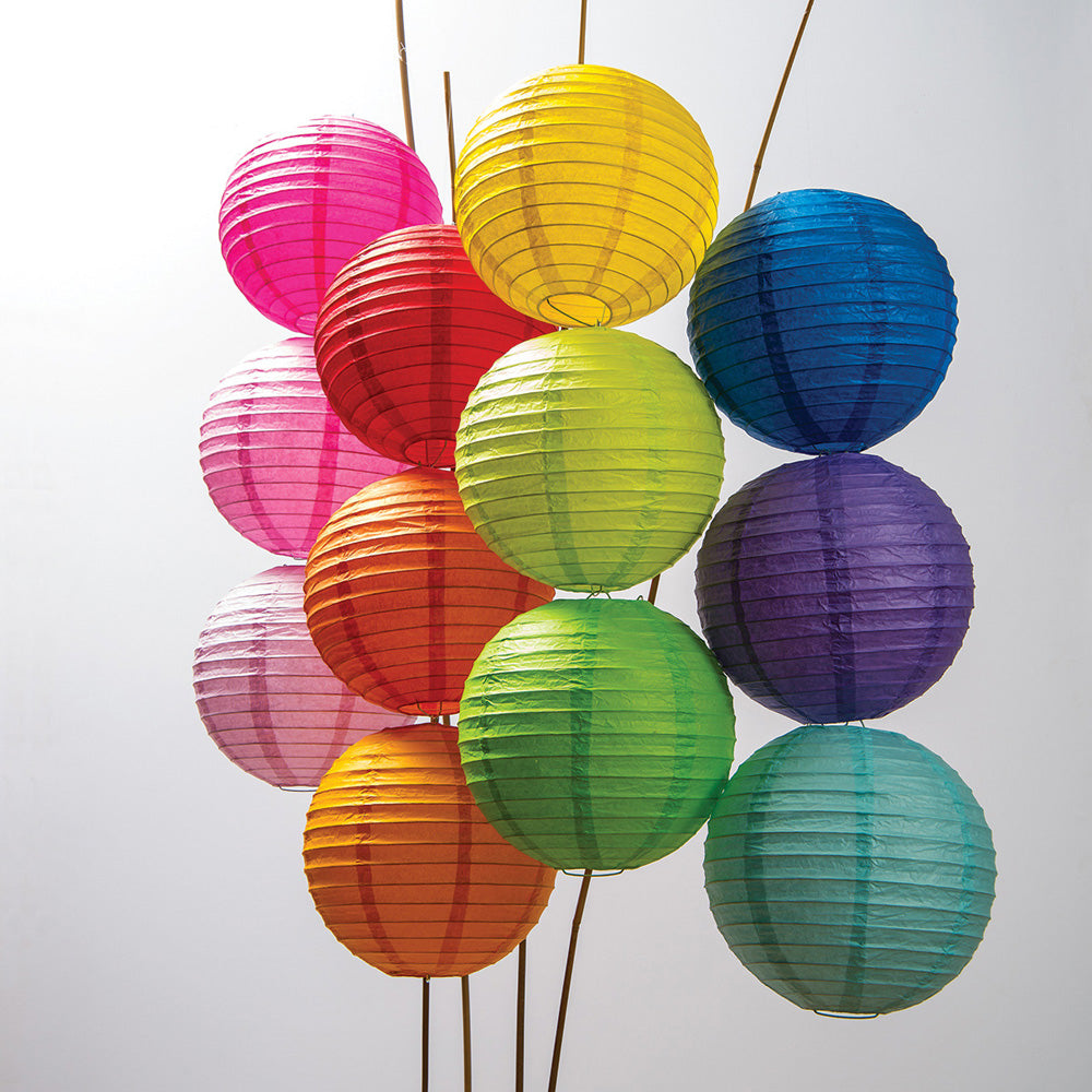 12-Pack of 8 Inch Multicolor No Frills Paper Lanterns