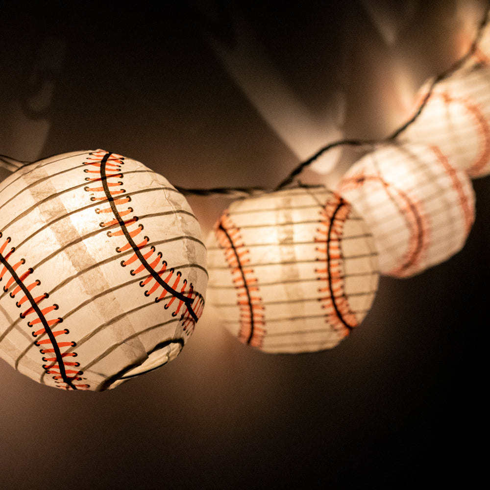 "10 Socket Baseball Sports Round Paper Lantern Party String Lights (4"" Lanterns, Expandable)"
