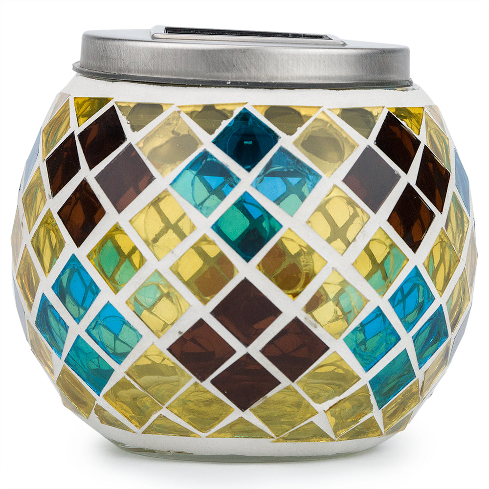 "BLOWOUT 4"" Solar Powered Mosaic Multi-Color Diamond Glass Tea LED Table Light, Battery Operated"