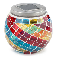 "BLOWOUT 4"" Solar Powered Mosaic Multi-Color Swirl Glass Tea LED Table Light, Battery Operated"