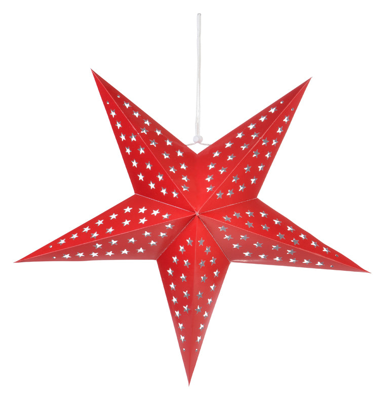 "24"" Solid Red Cut-Out Paper Star Lantern, Chinese Hanging Wedding & Party Decoration"