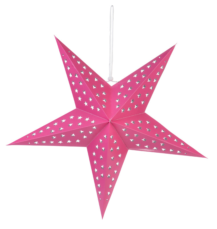 "BLOWOUT 24"" Solid Fuchsia Cut-Out Paper Star Lantern, Hanging Decoration"