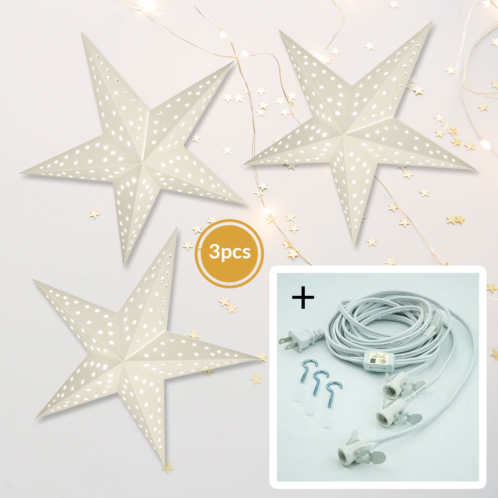 "3-PACK + Cord | White Starry Night 24"" Illuminated Paper Star Lanterns and Lamp Cord Hanging Decorations"