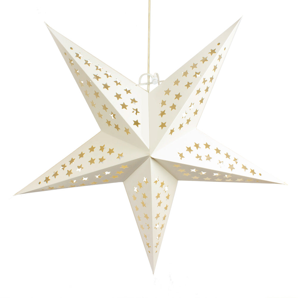 "24"" Solid White Stars Cut-Out Paper Star Lantern, Chinese Hanging Wedding & Party Decoration - PaperLanternStore.com - Paper Lanterns, Decor, Party Lights & More"