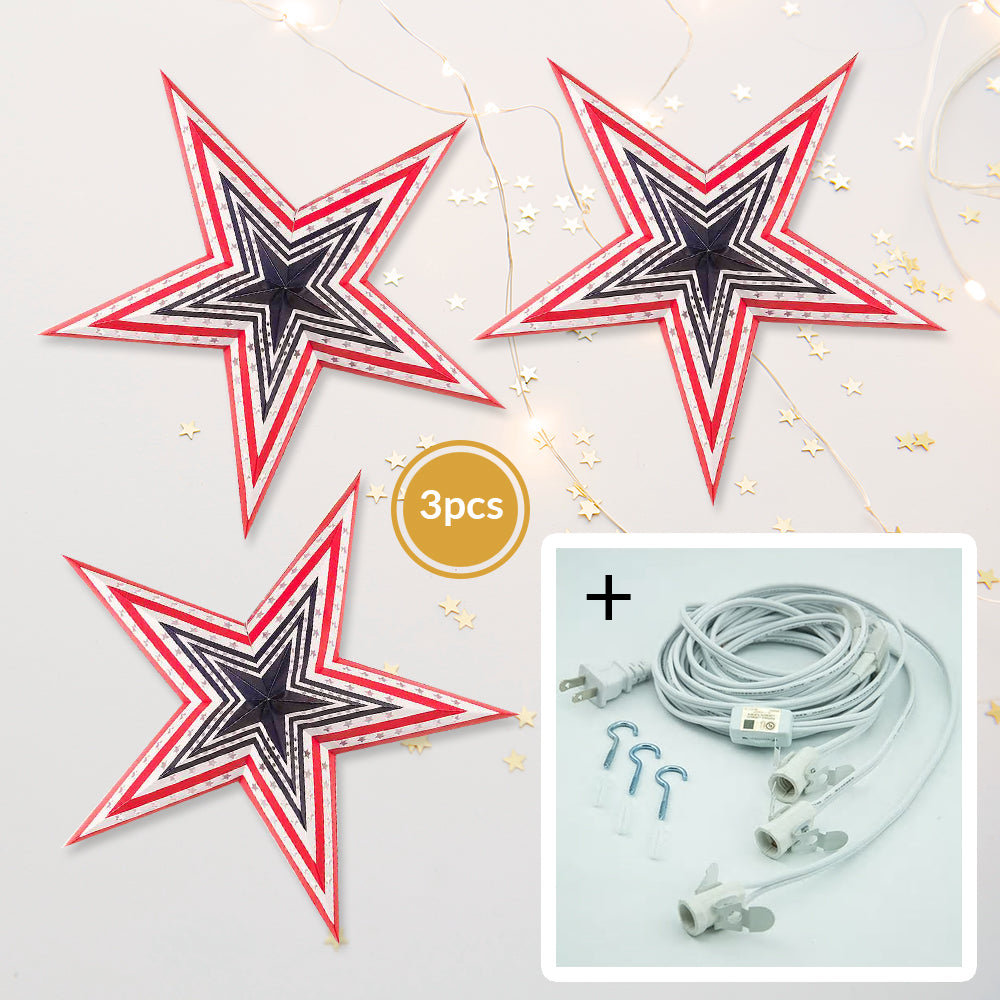 "BLOWOUT 3-PACK + Cord | Red, White and Blue 24"" 4th of July Illuminated Paper Star Lanterns and Lamp Cord Hanging Decorations"