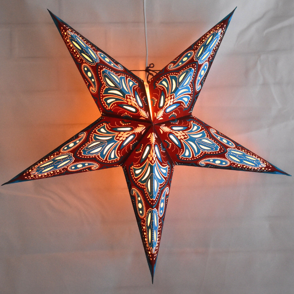 "BLOWOUT 24"" Blue / Brown Flamenco Glitter Paper Star Lantern, Hanging"