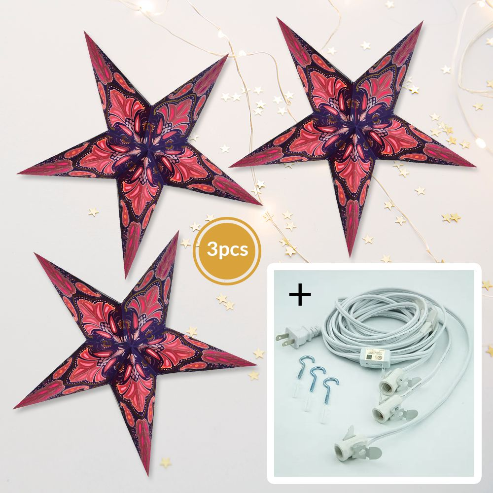 "3-PACK + Cord | Plum Purple Flamenco Glitter 24"" Illuminated Paper Star Lanterns and Lamp Cord Hanging Decorations - PaperLanternStore.com - Paper Lanterns, Decor, Party Lights & More"