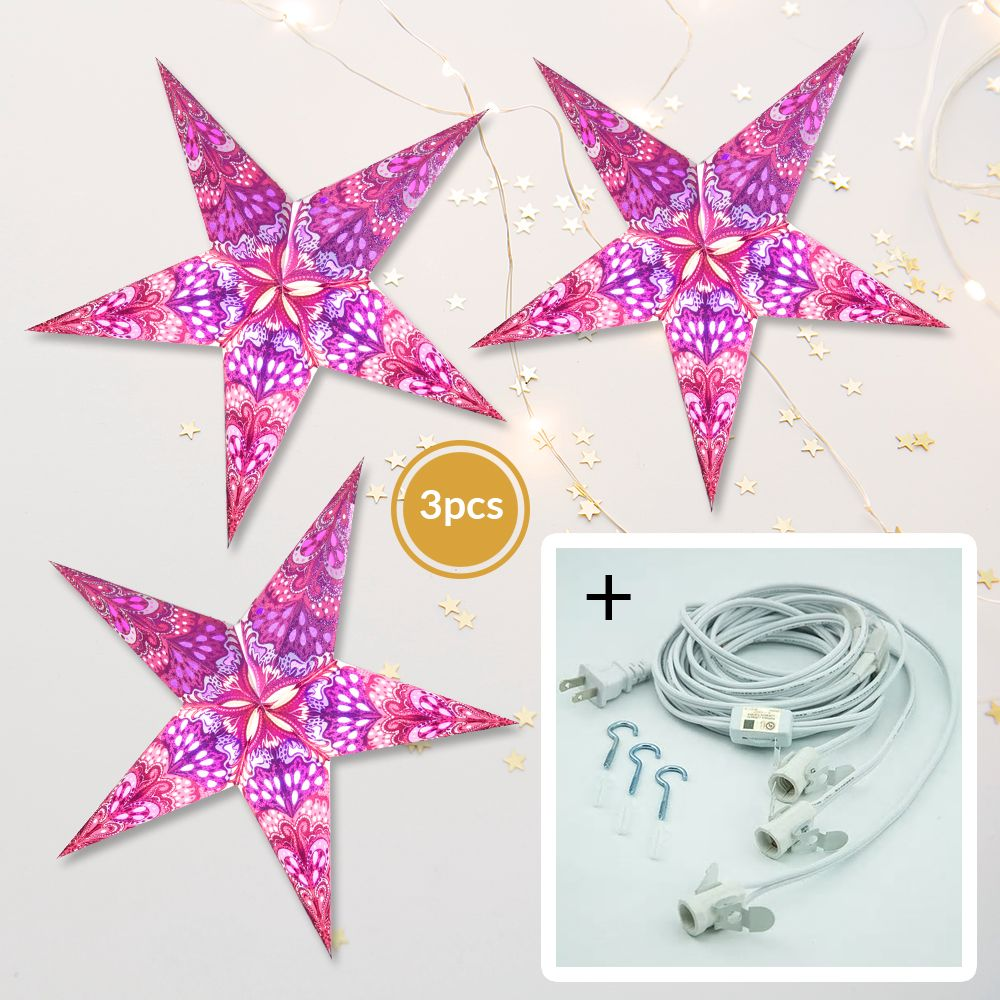 "3-PACK + Cord | Pink Heart's Desire Glitter 24"" Illuminated Paper Star Lanterns and Lamp Cord Hanging Decorations"