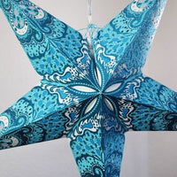 "3-PACK + Cord | Turquoise Blue Heart's Desire Glitter 24"" Illuminated Paper Star Lanterns and Lamp Cord Hanging Decorations"