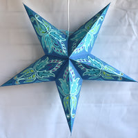 "3-PACK + Cord | Dark Blue Lotus Glittered 24"" Illuminated Paper Star Lanterns and Lamp Cord Hanging Decorations - PaperLanternStore.com - Paper Lanterns, Decor, Party Lights & More"