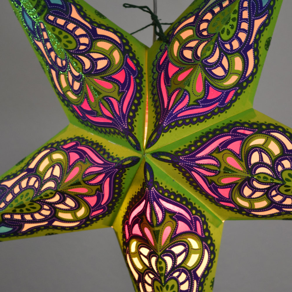 "24"" Green / Purple Meditation Glitter Paper Star Lantern, Hanging - PaperLanternStore.com - Paper Lanterns, Decor, Party Lights & More"