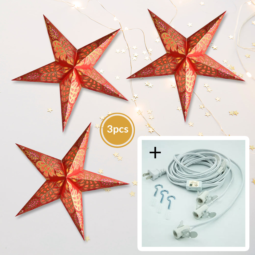 "3-PACK + Cord | Red Monarch Glitter 24"" Illuminated Paper Star Lanterns and Lamp Cord Hanging Decorations"