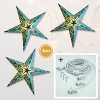 "3-PACK + Cord | Light Blue Mouri Glitter 24"" Illuminated Paper Star Lanterns and Lamp Cord Hanging Decorations"