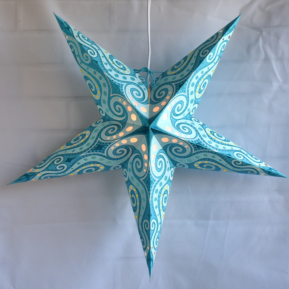 "24"" Green Sea Foam Mouri Blue Glitter Paper Star Lantern, Hanging - PaperLanternStore.com - Paper Lanterns, Decor, Party Lights & More"