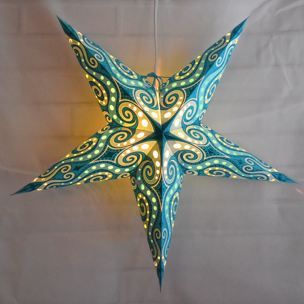 "24"" Green Sea Foam Mouri Blue Glitter Paper Star Lantern, Hanging"