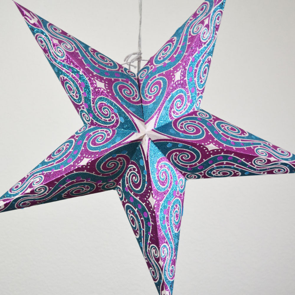 "24"" Magenta Purple Pink Mouri Glitter Paper Star Lantern, Hanging - PaperLanternStore.com - Paper Lanterns, Decor, Party Lights & More"