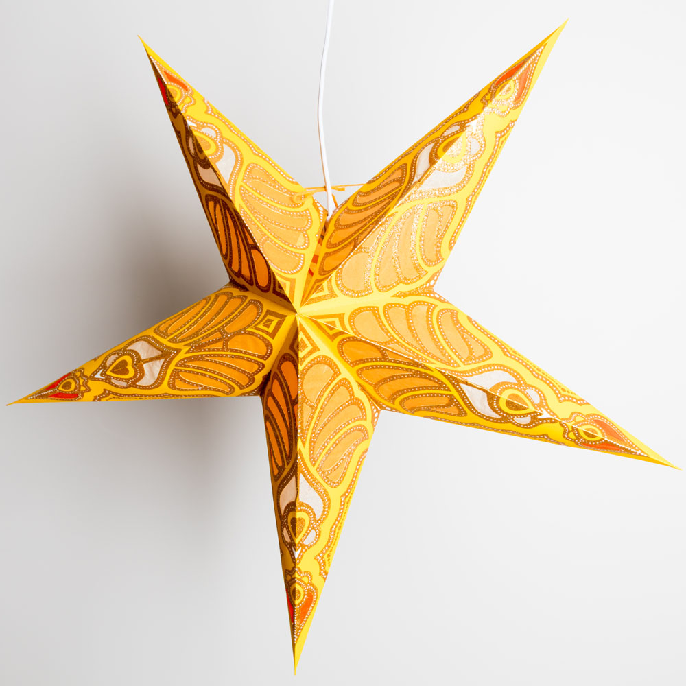 "24"" Yellow Parrot Glitter Paper Star Lantern, Hanging - PaperLanternStore.com - Paper Lanterns, Decor, Party Lights & More"